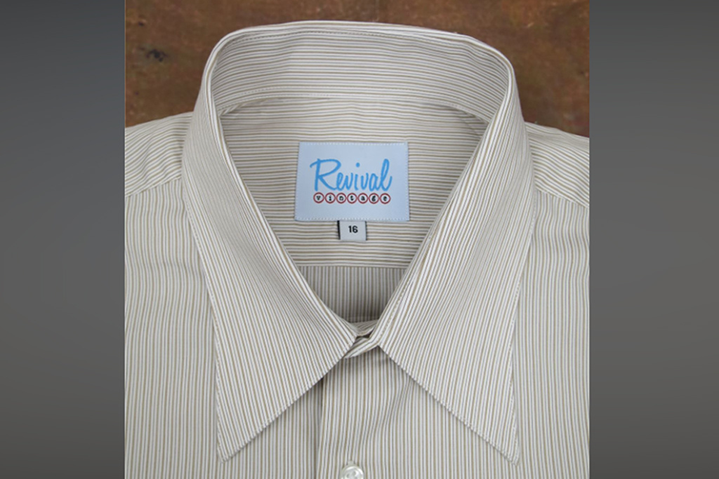 Revival 1940s Sand Track Stripe Spearpoint Collar Shirt