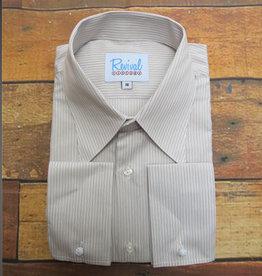 Revival 1940s Sand Track Stripe Spearpoint Collar Shirt