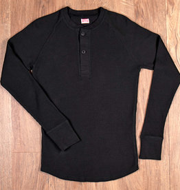 Pike Brothers 1936 Waffle Henley Shirt Black