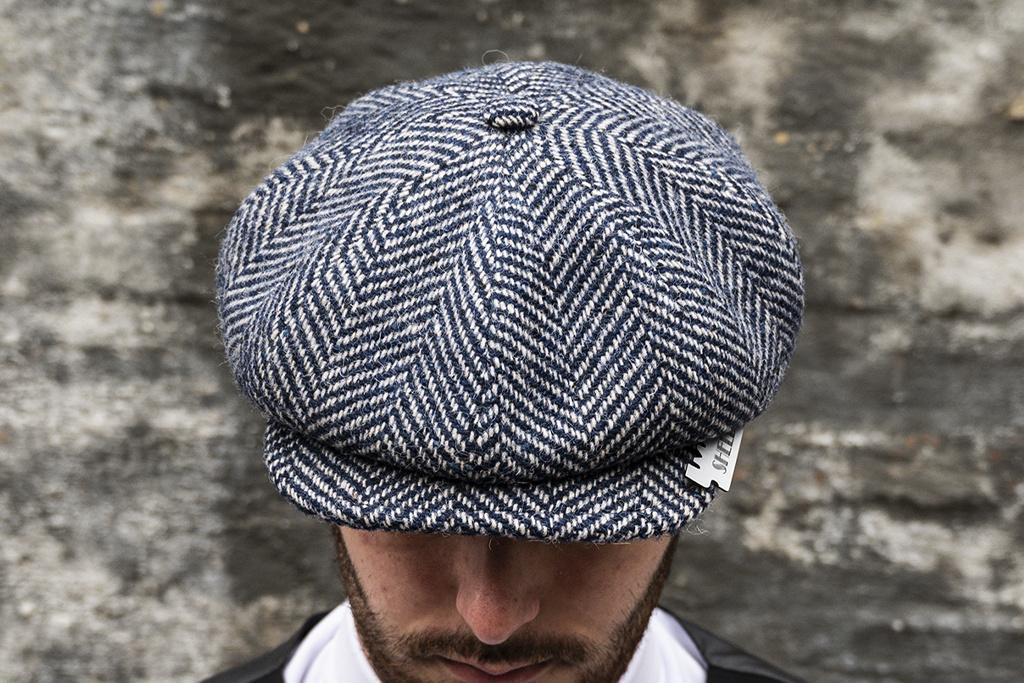 Alfonso d'Este Blue-White Herringbone cap