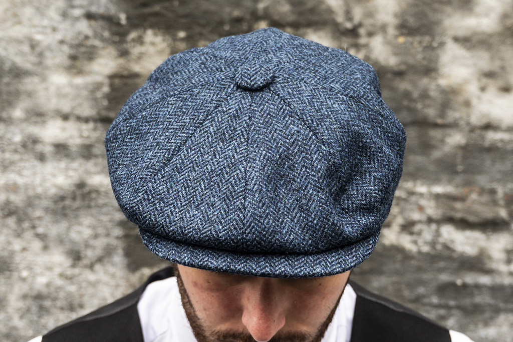 City Sport Peaky Herrringbone Blue Cap