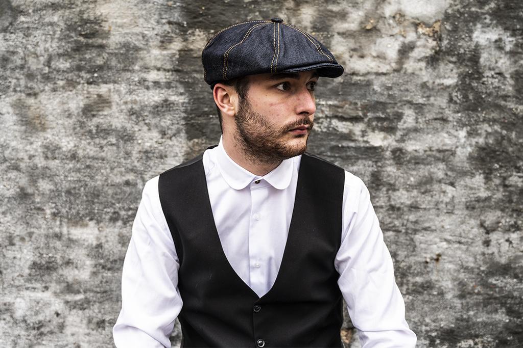 Alfonso d'Este Raw Denim Newsboys Cap