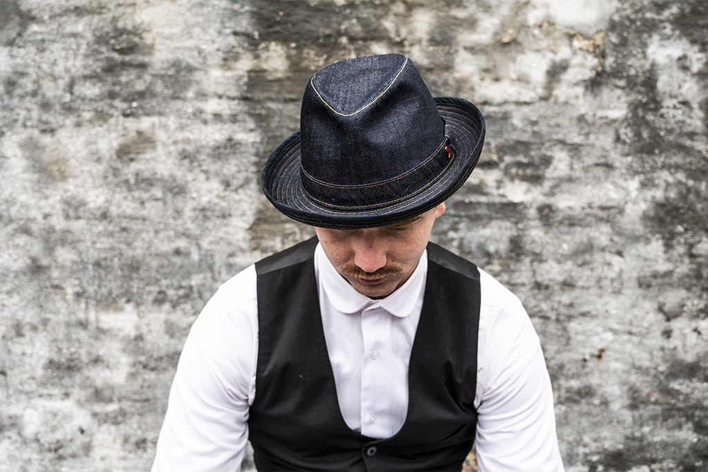 Alfonso d'Este Raw Denim Trilby Hat