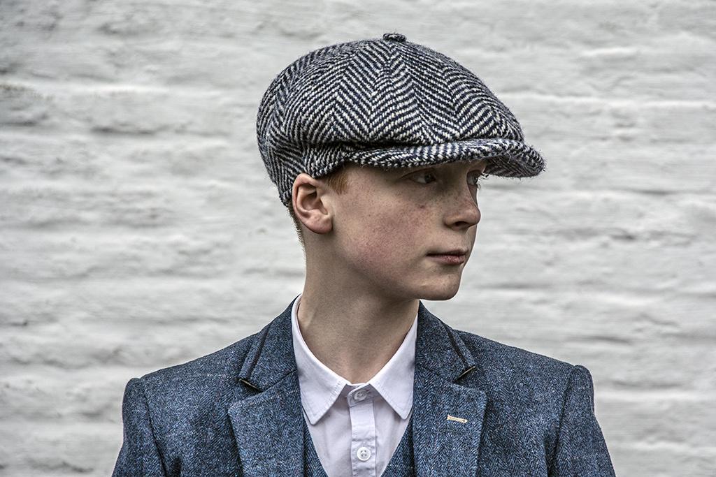 Alfonso d'Este Kids cap Blue-White Herringbone