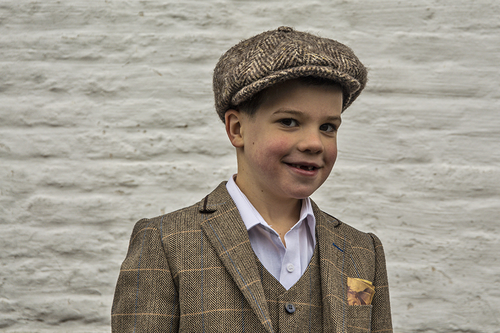 Alfonso d'Este Kids cap Brown mix Herringbone