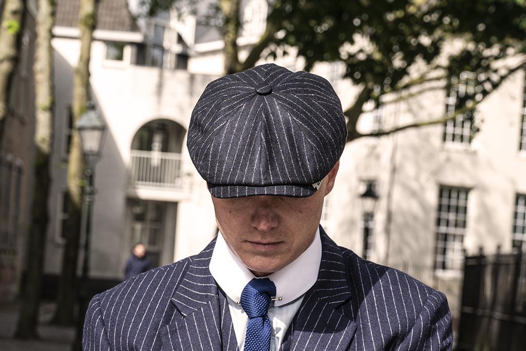 Alfonso d'Este Thomas Classic Navy Chalk Stripe Cap