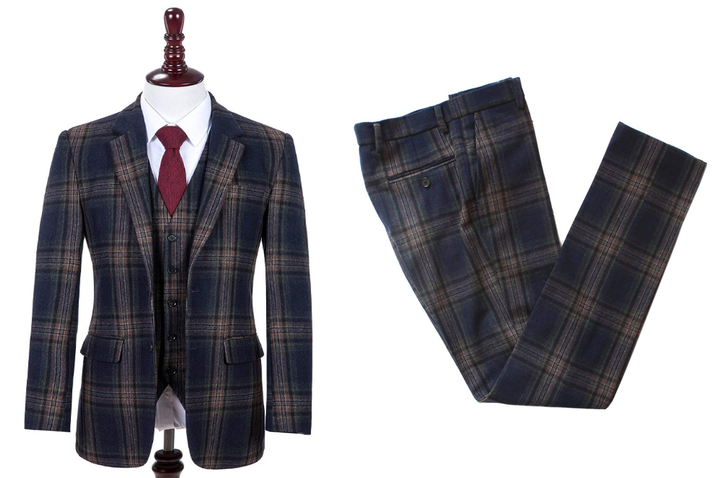 Shelby Brothers collection by Orange Fire Midnight Blue Plaid 3-delig tweed pak