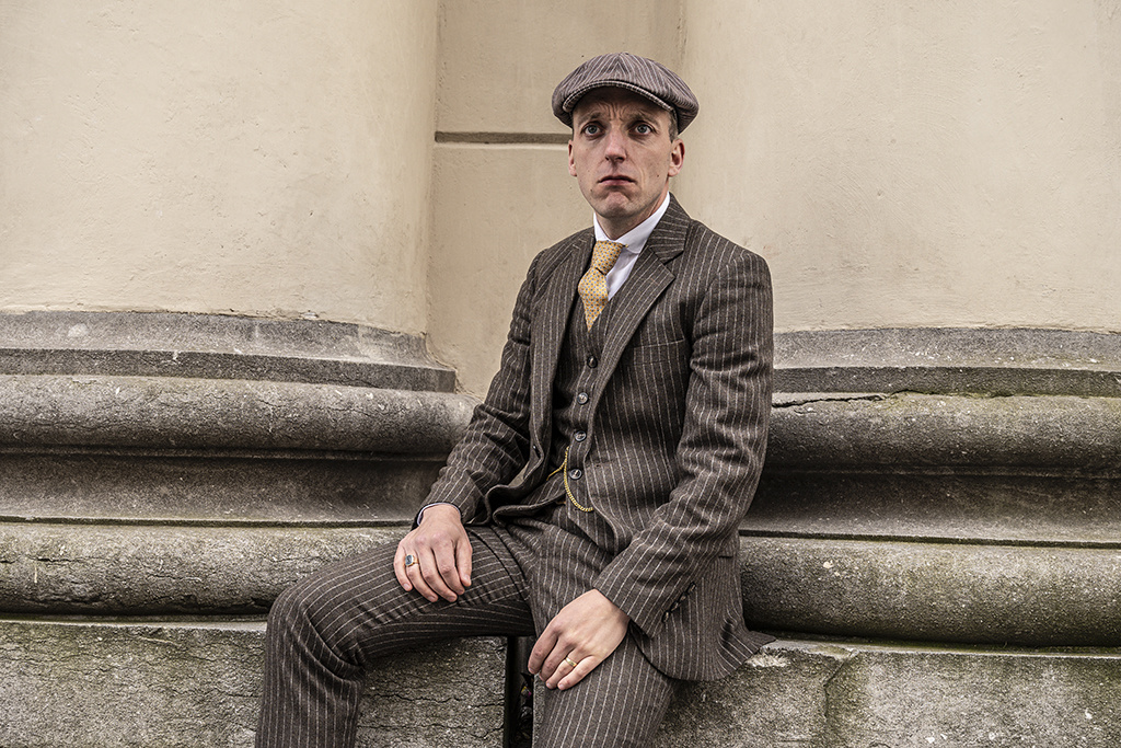 Shelby Brothers collection by Orange Fire Classic Retro Brown Chalk Stripe 3-delig tweed pak