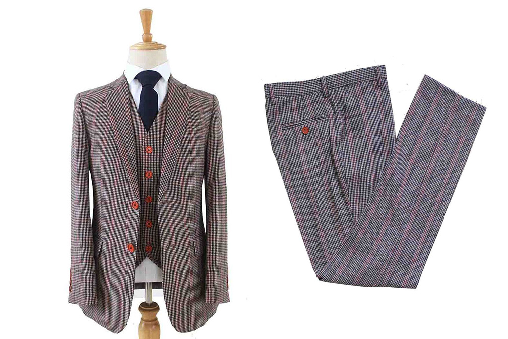 Shelby Brothers collection by Orange Fire Bonnie Houndstooth mix 3-delig tweed pak