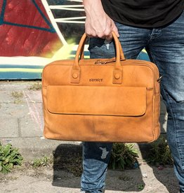 DSTRCT Chester cognac 17 inch laptoptas
