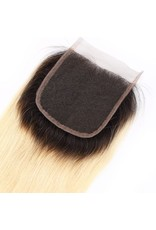Ombre Blonde #1b/613 Silky Straight Lace Closure