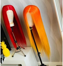 Red   Orange-Yellow Frontal Wig
