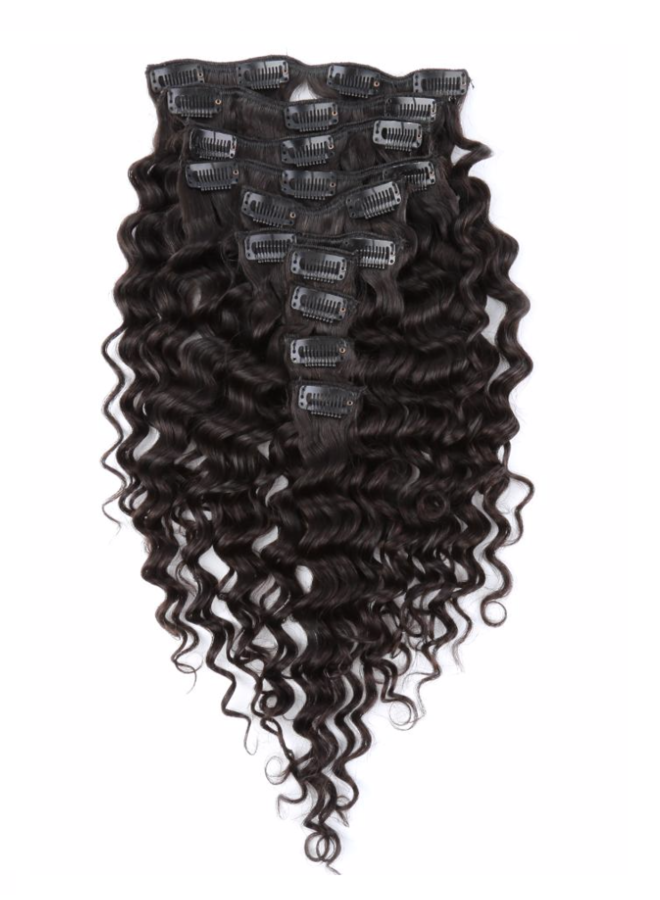 Raw* Indian Caribbean Curly Clip Ins