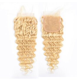 613 Blonde Caribbean Curly Lace Closure