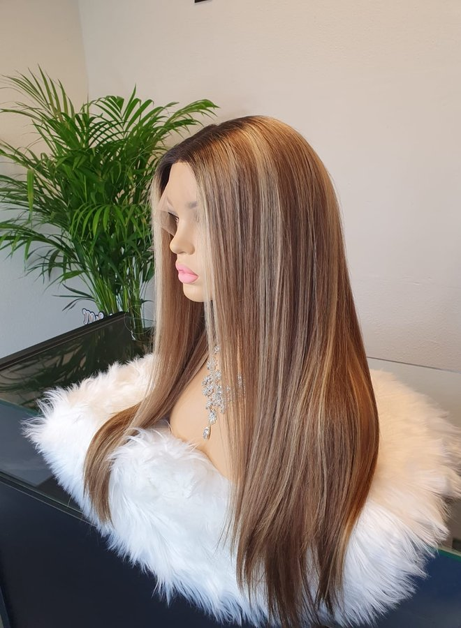 "Frontal Wig 22"" Brown + Blonde Highlights"
