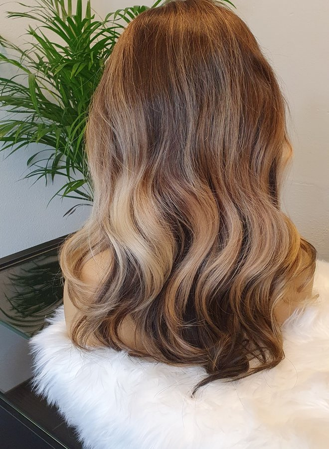 """Frontal Wig Blonde Brown 16"""" Raw Hair"""