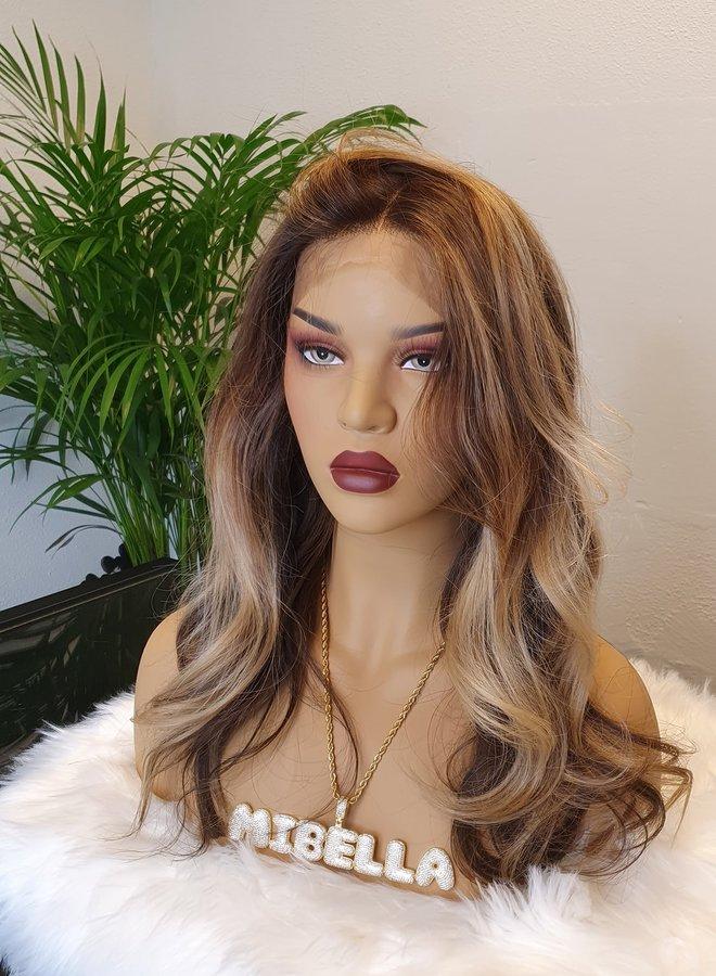 "Frontal Wig Blonde Brown 16"" Raw Indian Hair"