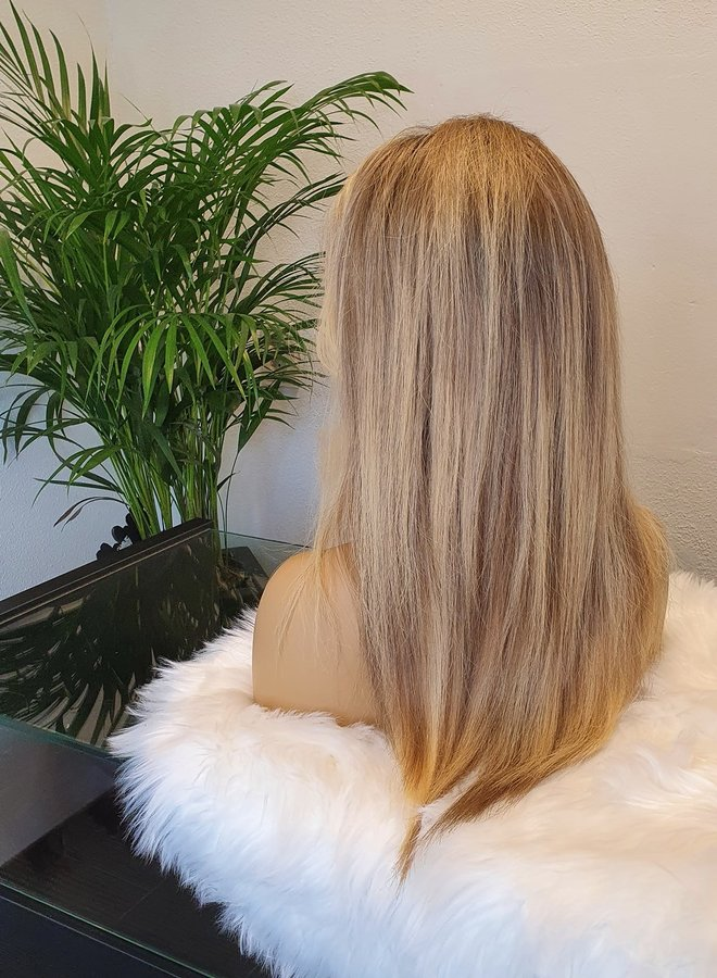 """Frontal Wig Blonde 16"""" Raw Indian Hair"""