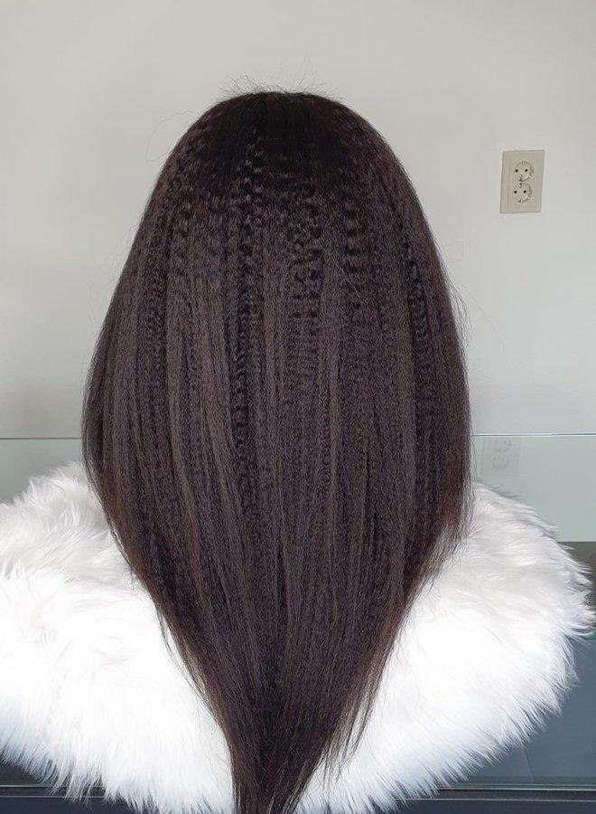 "Closure Wig Kinky Straight Remy Hair 22"""