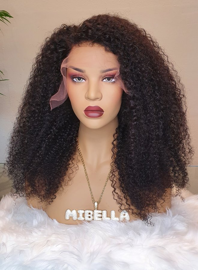 "Frontal Wig Kinky Curly 20"" Remy Hair"