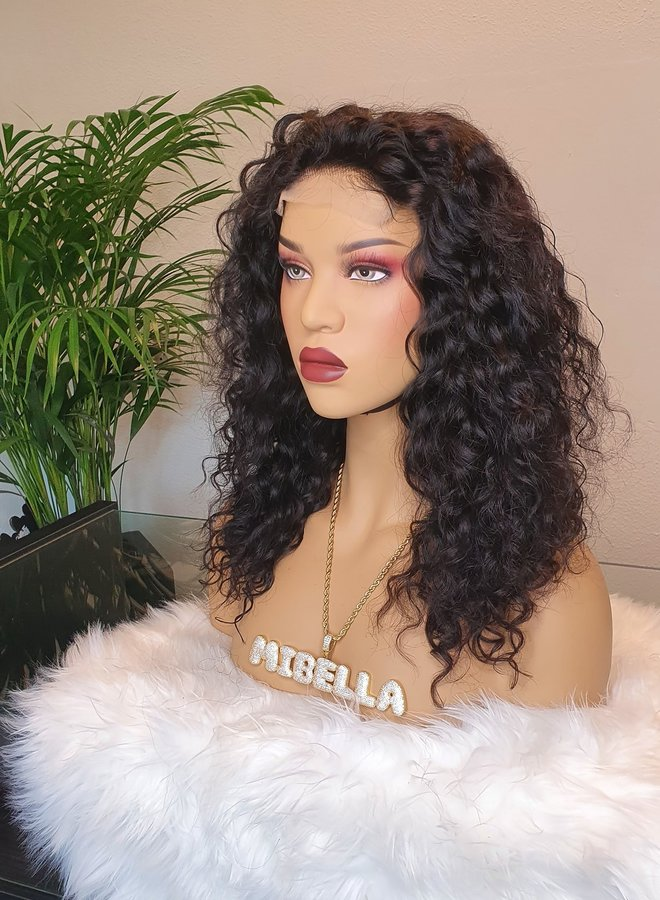 """Closure Wig Moroccan Curly 14"""" Remy Hair"""
