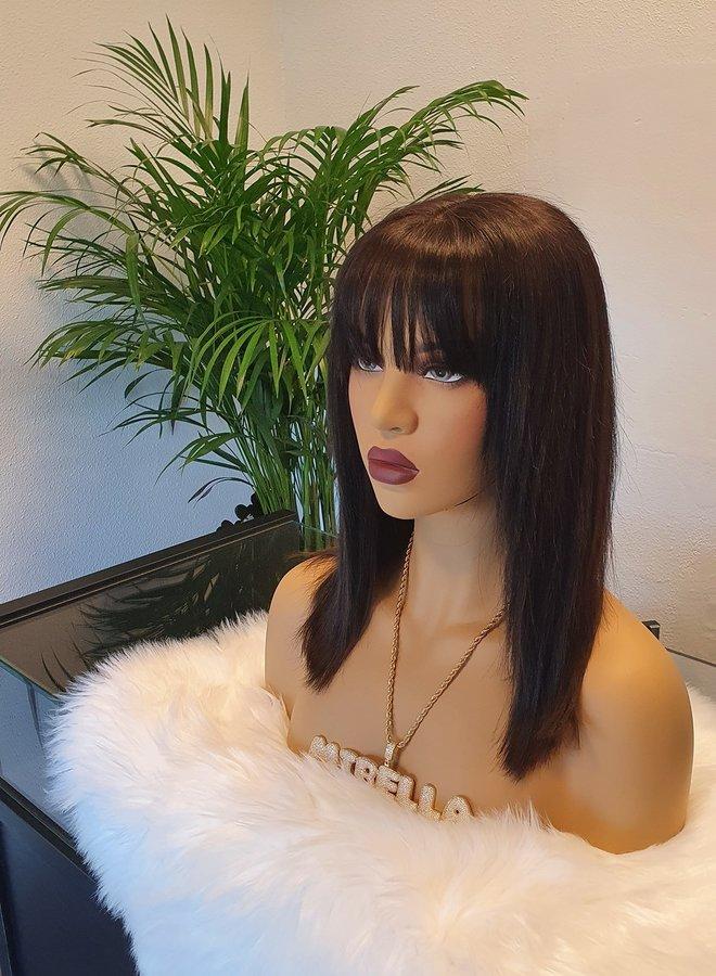 "Closure Wig + Bangs 10"" Raw Indian Hair"
