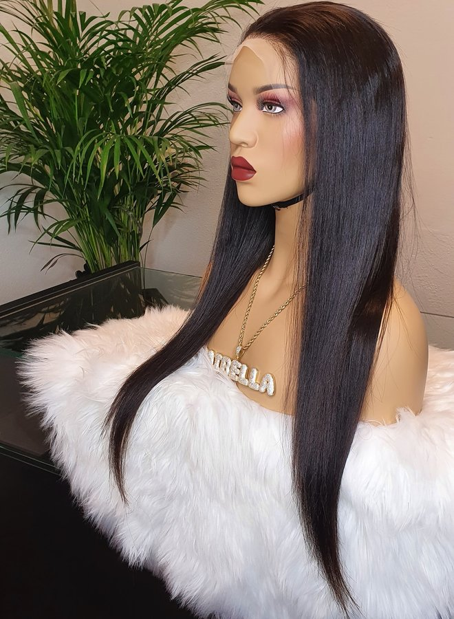 "Transparante Frontal Wig Straight 22"" Raw Hair"