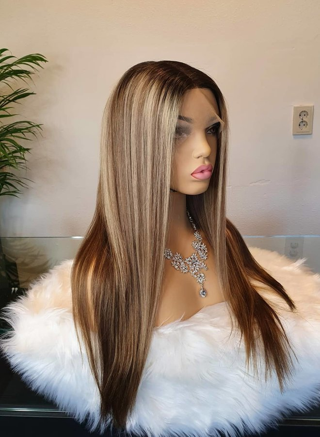 """Frontal Wig 22"""" Brown + Blonde Highlights Raw* Indian Hair"""