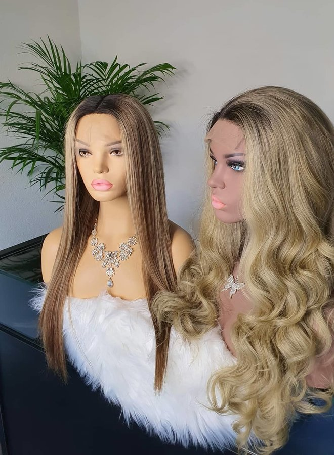 """Closure Wig 24"""" Ombre Blonde Raw* Indian Body Wave"""