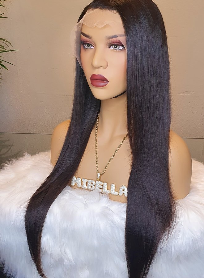 "Transparante Frontal Wig Straight 24"" Raw Hair"