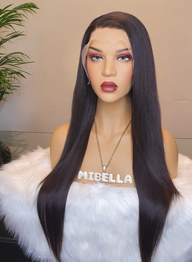 """Transparante Frontal Wig Straight 24"""" Raw Indian Hair"""