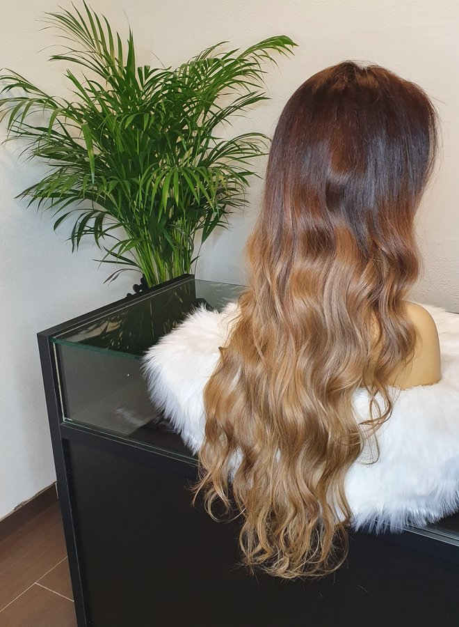 """Frontal Wig 26"""" Raw* Indian Body Wave Ombre Brown Blonde"""