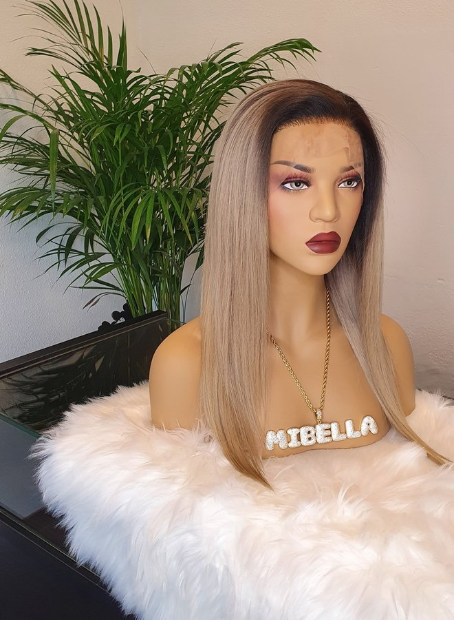 """Frontal Wig Ombre Ash Blonde 16"""" Raw Hair"""