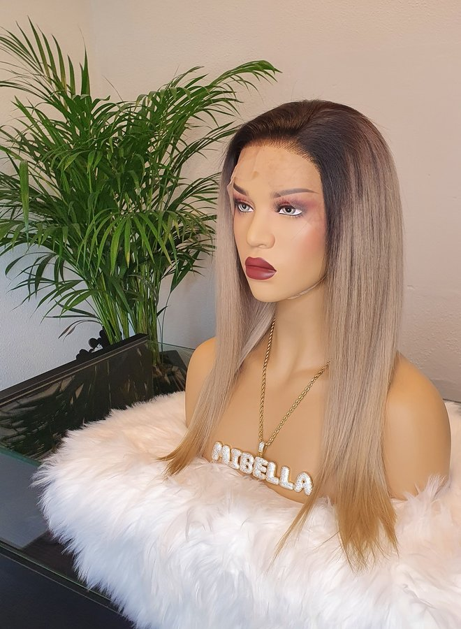 """Frontal Wig Ombre Ash Blonde 16"""" Raw Indian Hair"""