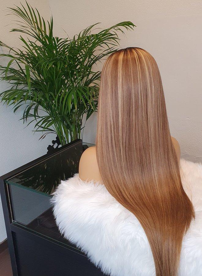"U Part Wig Raw Indian Hair Light Brown + Blonde Highlights 28"""