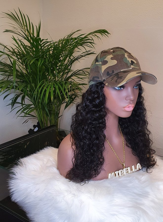 Hat Wig Moroccan Curly 18""