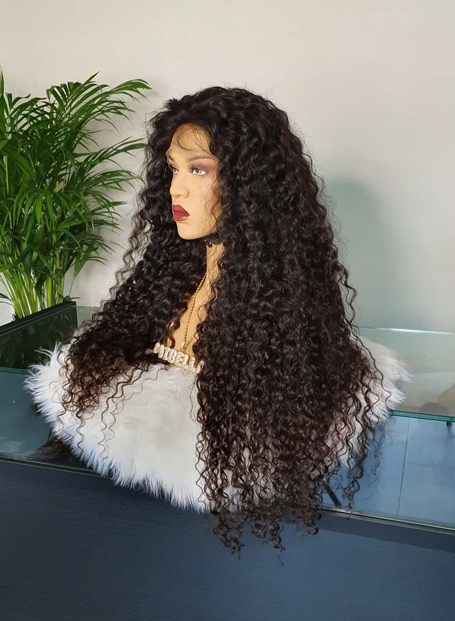 """Frontal Wig 32"""" Raw* Indian Hair Caribbean Curly"""