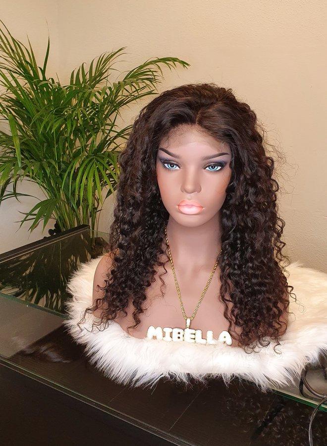 "Closure Wig Caribbean Curly Raw* Indian Hair 18"""
