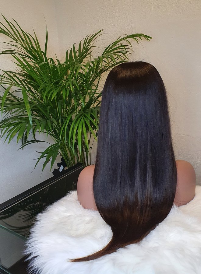 """Closure Wig 20"""" Raw Indian Natural Straight Transparent Lace"""
