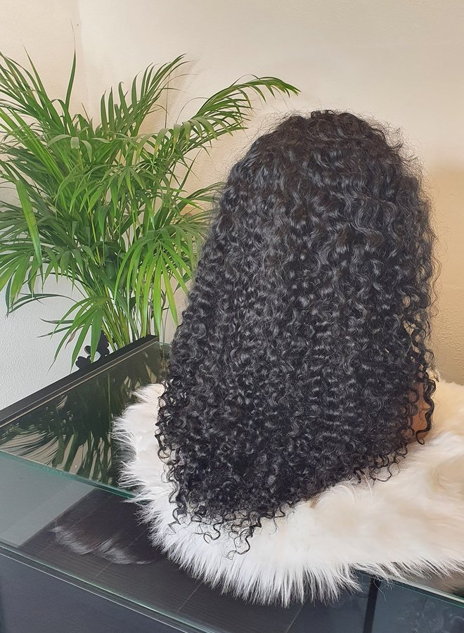 """Frontal Wig 24"""" Raw* Hair Deep Curly - Jet Black"""