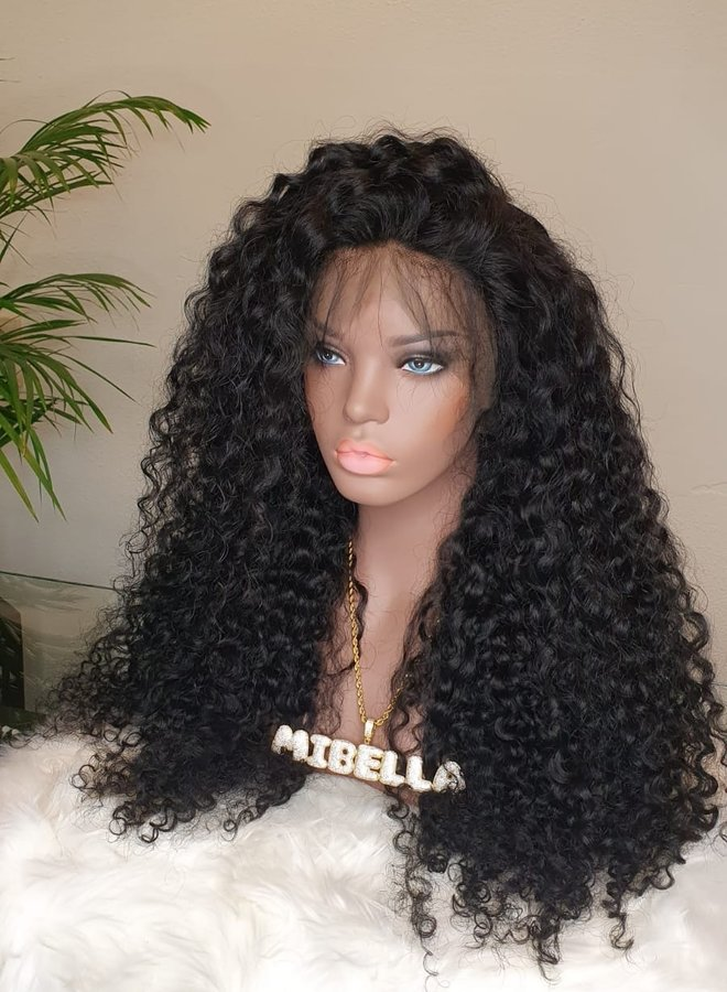"""Frontal Wig 24"""" Raw* Indian Hair Deep Curly - Jet Black"""