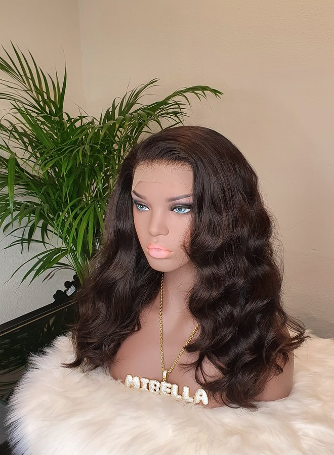 """Frontal Wig Raw* Indian Body Wave 16"""" Transparent Lace"""