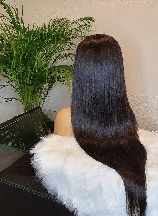 "Transparante Frontal Wig Straight 26"" Raw Hair 470 gram"