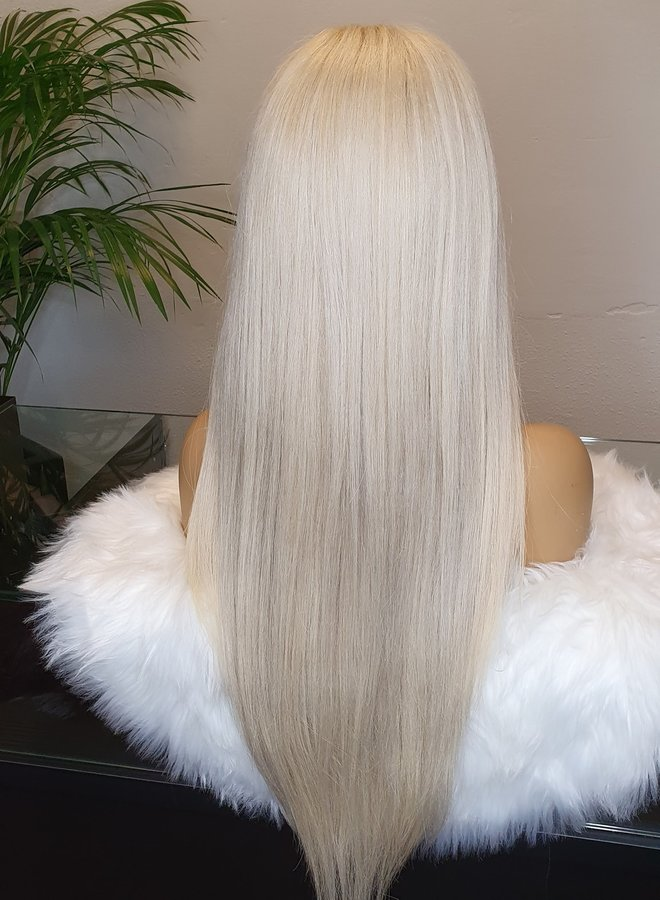 "Icy Blonde Frontal Wig 24"" Raw Hair"