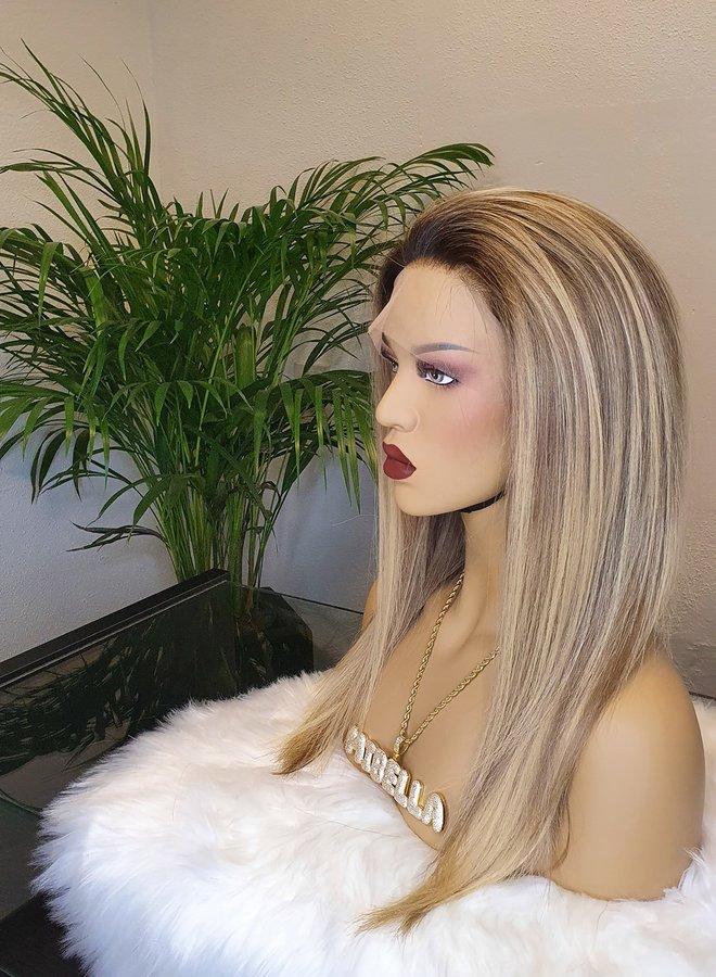 "Frontal Wig Blonde 16"" Raw Indian Hair 350 gram"
