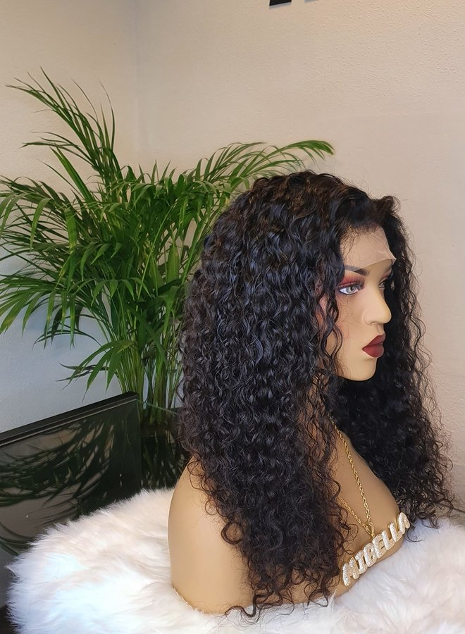 """Frontal Wig Curly 18"""" Raw* Indian Hair"""