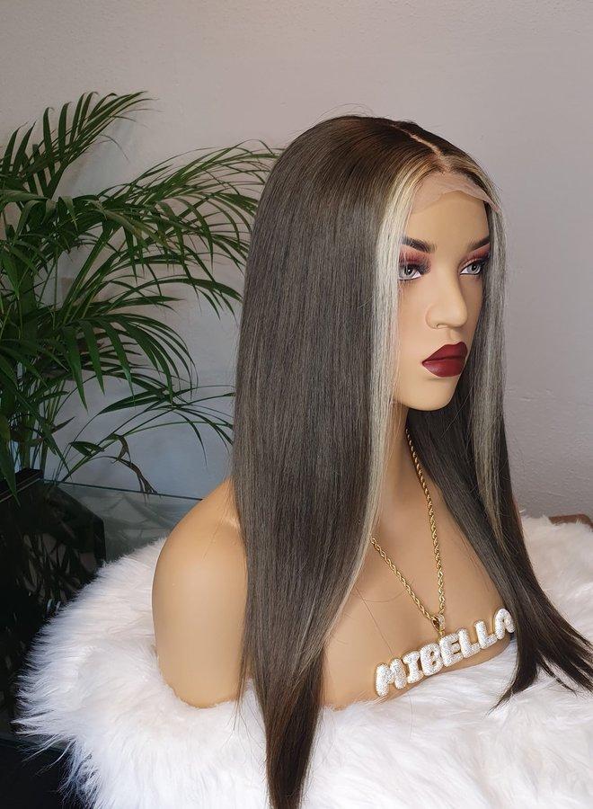 "Closure Wig Ash Brown 16"" Raw Indian Hair"