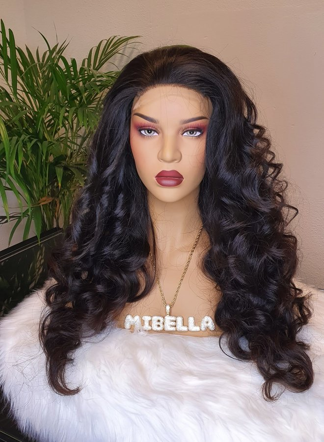 "HD closure wig raw indian straight body wave 26"" 425 gram"
