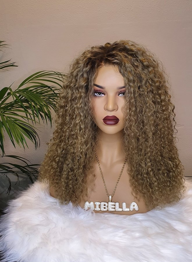 """Closure Wig Blonde Curly 18"""" Raw* Indian Hair"""