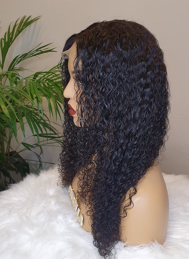 "Closure Wig Raw* Indian Kinky Curly 18"""